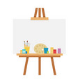 easel with accessories for drawing flat isolated vector image vector image