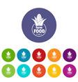 farm food icons set color vector image