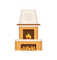 fireplace made of brick construction with chimney vector image vector image