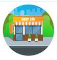 flat modern fast food restaurant or shop buildings vector image