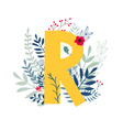 floral alphabet letter r vector image vector image