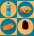 food icons set of four vector image