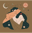 freezing woman warming from sunlight in space vector image vector image