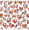 funny roosters seamless pattern for your design vector image