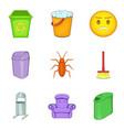 garbage bins icon set cartoon style vector image vector image