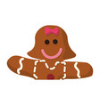 gingerbread girl cookie vector image