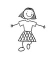 girl doodle draw vector image vector image