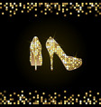 gold shiny high-heeled shoes vector image vector image