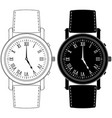 hand watch with roman numeral clock face vector image