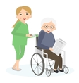 Handicapped senior man in a wheelchair Special vector image vector image