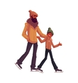 Happy black african father and son ice skating vector image vector image
