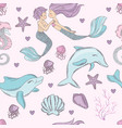 happy dolphin mermaid wedding underwater sea vector image
