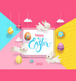 happy easter card decorated eggs hanging on vector image vector image