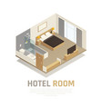 hotel room isometric composition vector image vector image