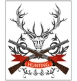 Hunting emblem deer decorative tape gun rifles vector image
