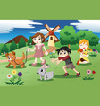 little kids with pets in garden vector image