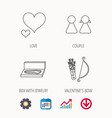 love heart jewelry and couple icons vector image