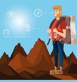 man tourist in landscape with set icons vector image vector image