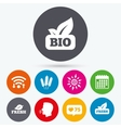 Natural fresh Bio food icons vector image vector image