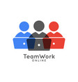 online teamwork logo with people and laptops vector image
