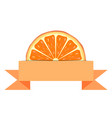 Orange slice with paper banner vector image vector image