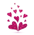 Pink glitter hearts isolated at white background vector image