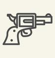 pistol line icon revolver vector image vector image