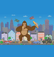 pixel game design 8 bit cityscape and monster vector image