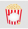 popcorn in red cardboard box vector image