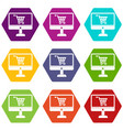 purchase at online store through computer icon set vector image vector image