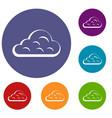 rainy cloud icons set vector image vector image