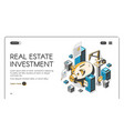 real estate investment isometric landing page vector image vector image