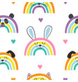 seamless pattern with baby animals rainbows vector image vector image