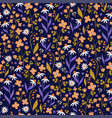 seamless pattern with flowers on a dark blue vector image