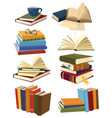 set books collection stacks books vector image
