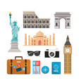 set international travel recreation destination vector image vector image