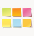 set of different colored sheets of note papers vector image