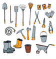 set of isolated gardening tools on white vector image