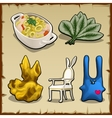 Set of items associated by theme of rabbits vector image vector image
