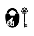 silhouettes antique key and padlock vector image