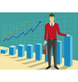 Successful businessman in front of growing diagram vector image vector image