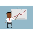 Successful businessman presenting a growing chart vector image vector image
