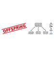 textured offspring line stamp and mosaic hierarchy vector image vector image