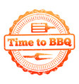 time to bbq colorful label design vector image vector image
