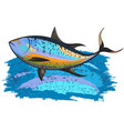 tuna on a blue wave vector image vector image