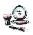 various cosmetics make up brushes isolated on vector image vector image