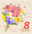 vintage greeting card with bouquet of spring vector image