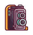 vintage twin lens film camera icon vector image