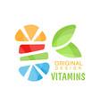vitamins logo original design herbal supplement vector image