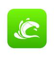 water wave splash icon digital green vector image vector image
